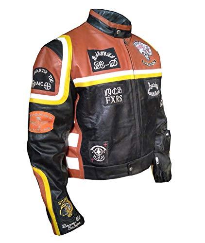 Mickey Rourke Biker Style Motorrad hochwertige echte Dicke Lederjacke orange- L