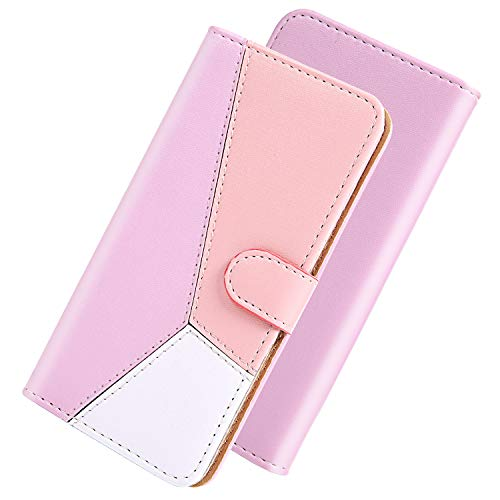 GIMTON Hülle für Huawei Y6P, Brieftasche Ledertasche mit Klappständer und Kartenfach, Multifunktion Kratzfestes Clamshell für Huawei Y6P, Rosa