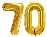 86cm XXL Ballon Folienballon Nummer 70 Geburtstag Luftballon 70. Geburtstag Dekoration Jubiläum 70 Birthday Folienballon Zahl 70