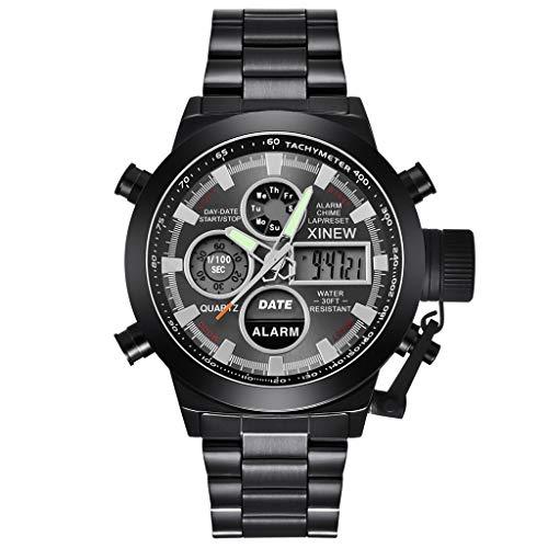 LXMJ-XINEW Uhr Herrenuhr Alloy Strap Sport Double Display elektronische Uhr Vatertag/Geburtstag/Hochzeit Urlaub Schwarz