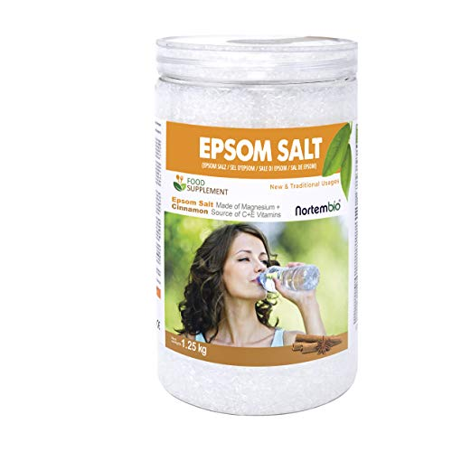 Nortembio Sali di Epsom 1,25 Kg. Qualità Alimentare. Alto Contenuto di Magnesio. Estratto Biologico di Cannella. Fonte di Vitamina C ed E. Salute e Benessere.