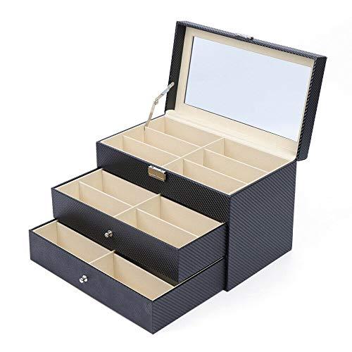 OUKANING Caja de almacenamiento para gafas, cajón, gafas de sol, caja de almacenamiento con cerradura, 3 capas, 18 compartimentos, con cerradura y llave, regalo para gafas de sol, 35 x 21 x 24,5 cm
