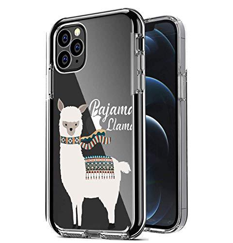 Funda transparente con bonito diseño compatible con iPhone 12 Pro Max 6.7 pulgadas 2021, transparente y bonito llamat para mujer, de goma suave, a prueba de golpes, diseño de llamat (blanco y negro)