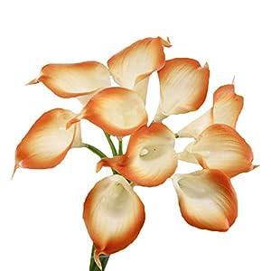 Angel Isabella, LLC Lifelike Artificial Flowers Real Touch Calla Lily Bouquet Bundle 10 Stems (Orange Trim)