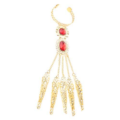 chiwanji Sklavenarmband Bauchtanz Indisch Armband Handkette Ring Edelstein Handschmuck