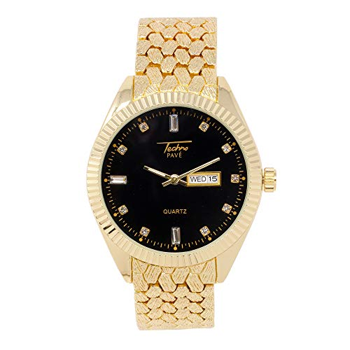 Techno Pave Men's Classy Analog Gold Black Watch with Date and Time Display with Dial Marked with Baguette Stones and Adjustable Nugget Style Metal Strap - Quartz Movement