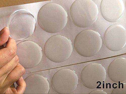 Set von 50 stücke Klar Runde 3D Dome Kreis Epoxy Aufkleber Für DIY Flaschenverschluss Aufkleber Selbstklebende Harz (2 zoll)