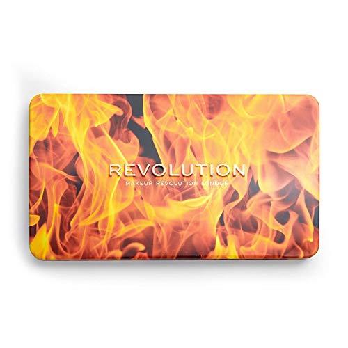 MAKEUP REVOLUTION Forever Flawless Fire - 18 heiße matte, schimmernde und kompakte Glitzerlidschatten auf einer Farbpalette - 1 Stück