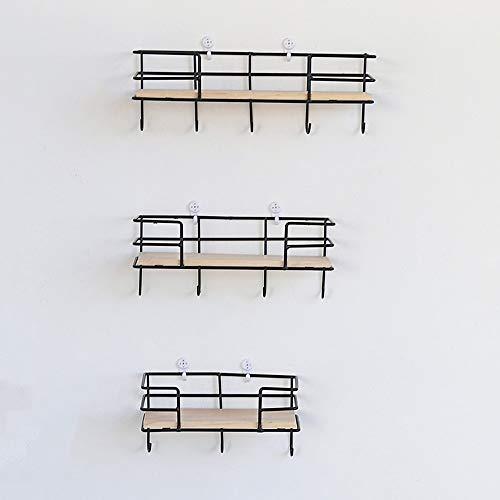 Haken voor wandrek, eenlaags, van hout, creatief, eenvoudig, decoratieve wandkapstok 10.3x10x30cm Zwart