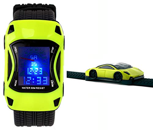 LGYNTO Kids Watches Boys Waterproof Sports Digital LED Wristwatches 7 Colors Flashing Car Shape Wrist Watches for Children,for Age 3-10 (Green)