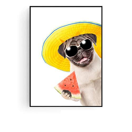 Lfnfl Sonnenhut Cute Watermelon-Eating Dog, Leinwand Poster, dekorative Wohnzimmer Aisle-40X50Cm