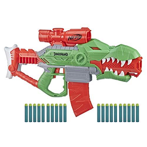 Nerf DinoSquad Rex-Rampage Motorised Dart Blaster, 10-Dart Clip, 20 Nerf Darts, 10-Dart Storage- T-Rex Dinosaur Design