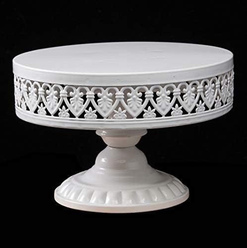 URANMOLE Antique White Metal Cake Stand, Round Cupcake Stands, Wedding Birthday Party Dessert Cupcake Pedestal/Display/Plate (12in
