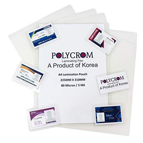 Polycrom Korean (A4 Size) Lamination Pouch Clear Glossy Thermal Transparent Waterproof 100 Sheets (Home&Office) 80 Microns