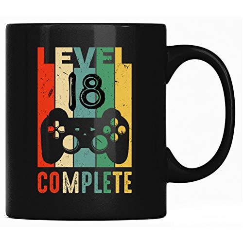 Level 18 Complete - 18º cumpleaños 2003 Gaming Computer Taza, taza de regalo, taza de café con texto en alemán