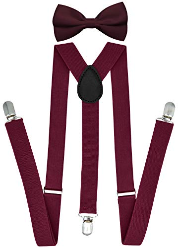 Trilece Suspenders for Men with Bow Tie Adjustable 1 Inch Wide Y Back Style Strong Clips Solid Colors (Burgundy Set)