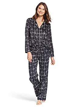 Nanette Lepore Polyester Womens Button Down Pajama Set - Shirt and Pants Lounge Sleepwear Pair Black Medium