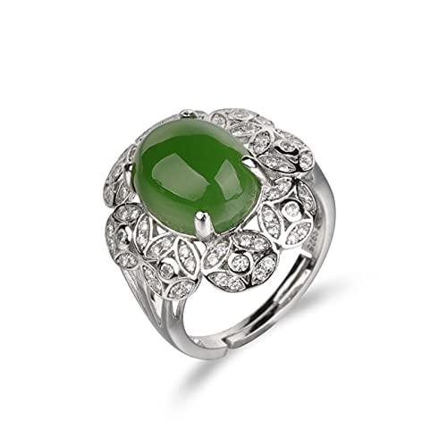 Yisss Anillo de Jade Verde Natural de Las señoras Esmeralda Natural, Anillo de la declaración de inspiración Vintage, Apertura Ajustable, Plata S925
