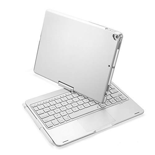 Funda de teclado para iPad 10.2 2019 7ª generación, teclado inalámbrico con retroiluminación de 7 colores, con ranura para bolígrafo, rotación de 360 grados, color plateado