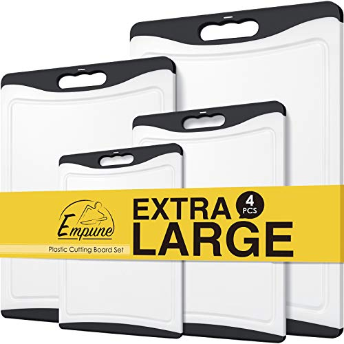 Extra Large Cutting Boards, Plastic Cutting Boards for Kitchen (Set of 4) Cutting Board Set Dishwasher Safe Non-slip Chopping Board with Juice Grooves Easy-Grip Handles, Empune