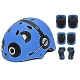 Casque Enfants Toddler Helmet Sports Protective Gear Set Genou Coude Poignet Protections Roller Vélo Vélo Skateboard Casques Réglables pour Enfants,Bleu