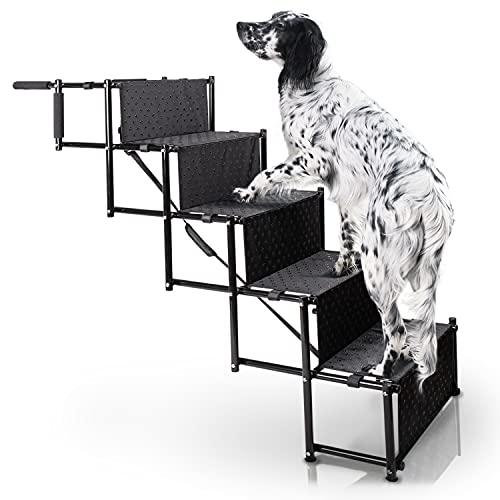 Bella & Balu Escalera para perros: la rampa respetuosa con las articulaciones para tu mascota, ayuda de entrada plegable con cinco niveles para subir y bajar cómodamente para interior y exterior.