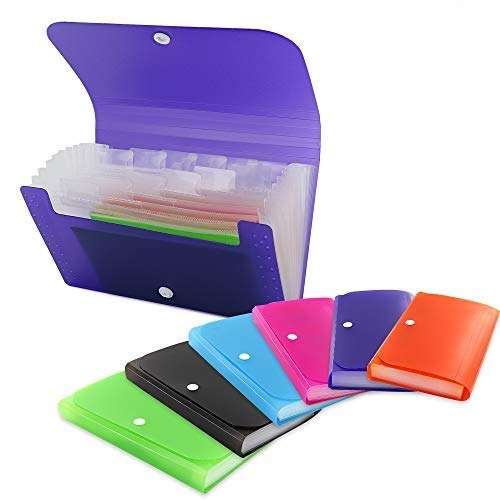 3-Pockets Coupon Personal Check Size Expanding File High Capacity Plastic Business Portable Accordion File Bag Folder Office Organizer for Receipts and Checks Pack of 2 - by Emraw