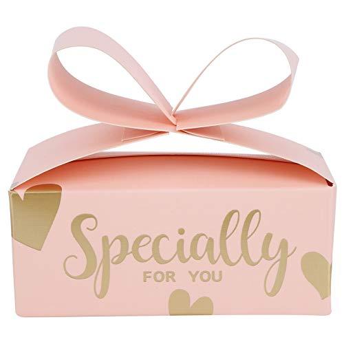 SZHWLKJ 30 Unids Pink Bowknot Cajas De Caramelo Regalo Transporte Cajas para Galletas Fiesta Fiesta Cumpleaños Cumpleaños Bodas Suministros