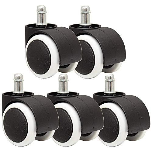 Zwenkwiel bureaustoel 50 mm rol Castor wieltjes set 5-zwart en wit 360 graden draaibaar (kleur: zwart)