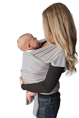 Baby Wrap Carrier, Easy to Put On-Sling, Swaddle Close Comfort - Adjustable Breastfeeding Cover - Lightweight Sling Baby Carrier for Infant - Soft, Comfortable & Breathable (Heather Gray)