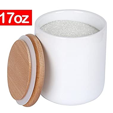 White Ceramic Canister Jar Container For Food Storage with Wood Lid,Kitchen Canister,Sugar Container Salt and Pepper Canister Coffee Tea Jar,17 floz,1-Piece