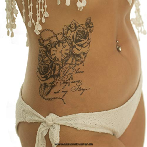1 x Uhr Kette Rosen Spruch - schwarzes XL Tattoo - Body Temporary Fake Tattoo - TH488 (1)