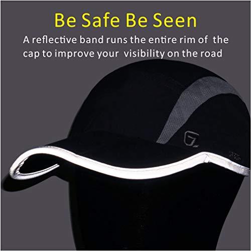 GADIEMKENSD Quick Dry Sports Hat Lightweight Breathable Soft Outdoor Run Cap (Folding series, Black)