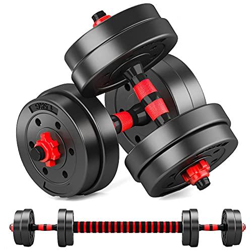 MOJEER ダンベル 可変式 3in1】10kg 20kg 30kg 40kg 2個セット バーベルにもなる ダンベル 無臭素材 静音 (5kg×2個セット/ redCP)