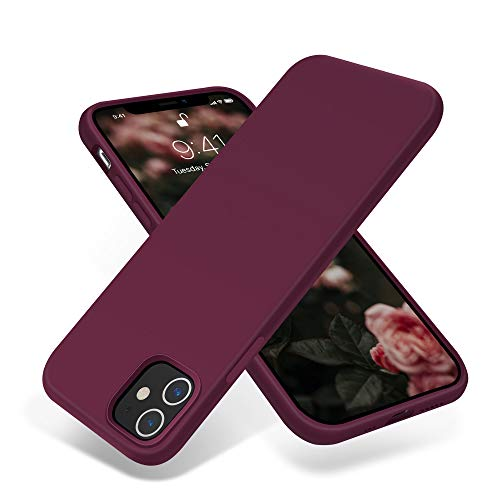 OTOFLY Compatible with iPhone 12 Case and iPhone 12 Pro Case 6.1 inch(2020),[Silky and Soft Touch Series] Premium Soft Liquid Silicone Rubber Full-Body Protective Bumper Case (Wine Red)