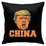 Relaxlama Trump Saying China Meme Face Decorative Throw Pillow Covers for Home Decor Sofa Bedroom Car 18x18 Inches