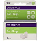 Flents Ear Stopples Wax-Cotton Ear Plugs 6 Pairs (Pack of 12)