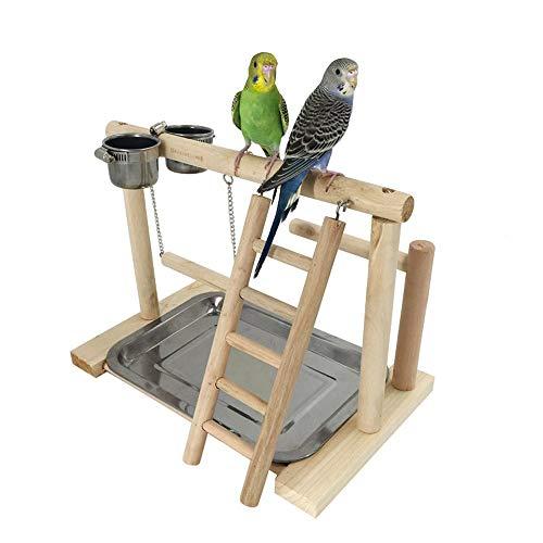 Parrot Schwingen Stufenbarren Spielplatz Vogel Massivholz Xuanfeng Tiger Skin Peony Schulungsstand Supplies Ständer Käfigständer Sitzstangen (Color : Multi-colored, Size : C)