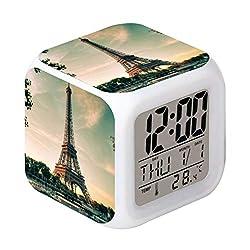 Cointone Led Alarm Clock Paris Eiffel Tower Design Creative Desk Table Clock Glowing Electronic Colourful Digital Alarm Clock for Unisex Adults Kids Toy Birthday Present