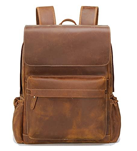 DYJXIGO Mochila portátil de cuero grande Vintage Daypack para 15 pulgadas Notebook Documentos para la escuela de negocios Mochila marrón