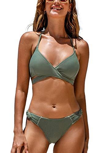 CUPSHE Conjunto de Bikini para Mujer Halter Atado Trenzado Tira Traje de Baño de Dos Piezas, XS