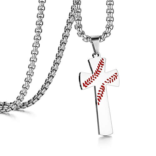 Cupimatch Kette Herren Kreuz Anhänger Silber Gold Schwarz Edelstahl Männer Baseball Kreuz Halskette