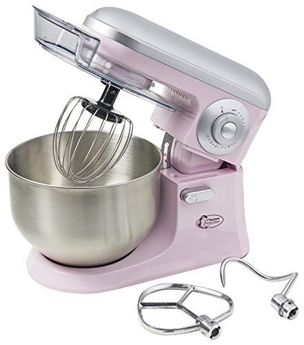 Bestron keukenmachine in retro-design met garde, deeghaken en roerarm roze