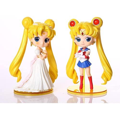 Gwuqbs 2 Piezas/Conjunto de Hermosas niñas Marineros Luna Liebre/Marinero amlandia Marinero Marga japón PVC Movible Gente Juguete 15 cm
