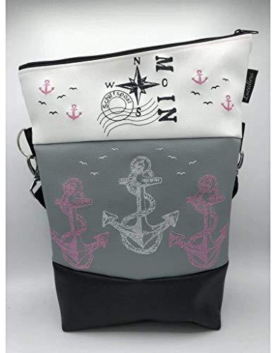Handtasche Anker Maritim Ostsee RosaTasche Foldover Schultertasche
