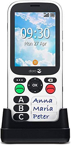 Doro 780X IUP (PTI) Portable 4G Dual SIM Débloqué avec Alarme Travailleur Isolé, GPS, Touche d'Assistance, Clavier Simplifié et Socle Chargeur Inclus (Blanc) [Version Française]