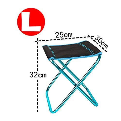 Silla de Camping Plegable Silla de Pesca de Picnic Ligera Paño de Aluminio Plegable Silla de Playa portátil para Exteriores Muebles de Exterior - Azul-L