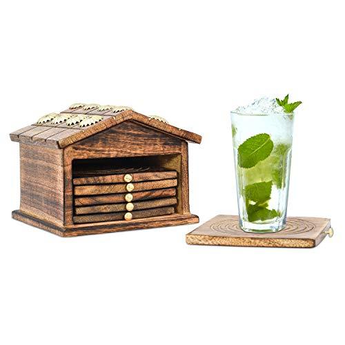 Divit Dessous de Verre en Bois, Ecologiques, Absorbants, au Look Antique, Faits Main, Set de 6. (Hut Coaster)