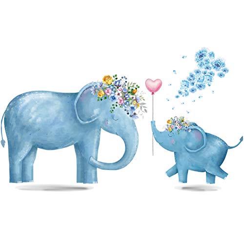 TAOYUE Blue Elephant Flower balloon muursticker dier kinderkamer decoratie vinyl behang baby slaapkamer waterdichte muurtattoos