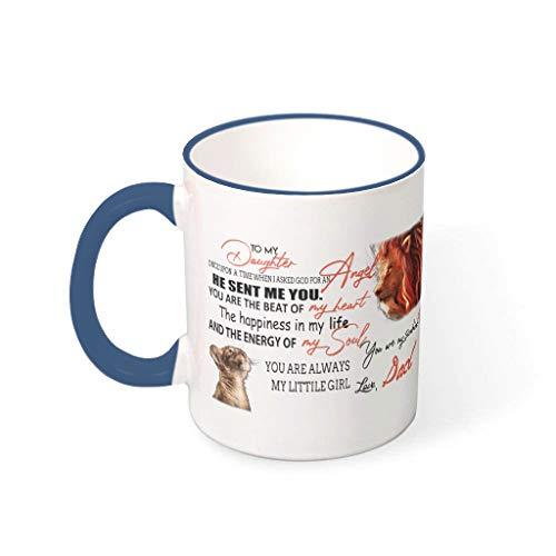 Taza de porcelana con texto en alemán 'Für meiner Tochter von Papa', taza de porcelana, 330 ml, para el padre del león
